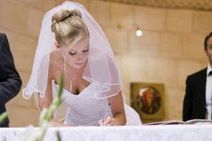 Mariée signature mariage cérémonie religieuse eglise