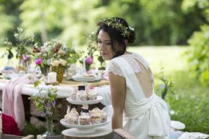 jolie mariée en robe blanche shooting d'inspiration mariage en Gironde sous l'oeil du photographe de mariage à Bordeaux Sébastien Huruguen