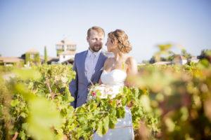 Sebastien Huruguen Photographe Mariage Bordeaux chateau Smith Haut Lafitte Sources de Caudalie dans les vignes couple maries