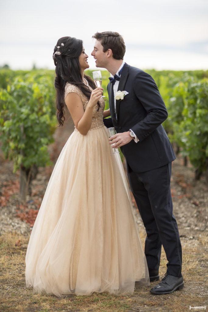 fun bride and bridesgroom in Macau France champagne