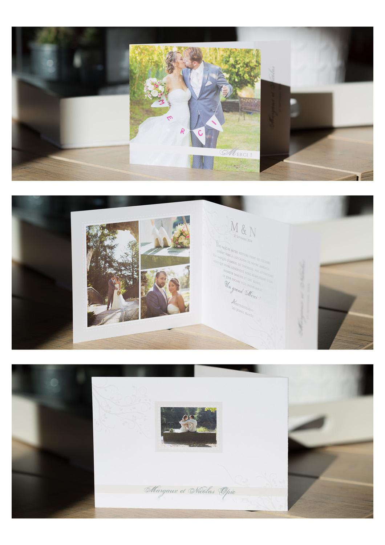 temoignages carte de remerciements d'un couple de jeunes mariés à Bordeaux avec les photos de leur mariage et de leur séance trash the dress réalisées au Chateau de Lantic à Martillac et au parc Majolan à Blanquefort par le photographe bordelais Sébastien Huruguen spécialiste du reportage photos de mariage en Gironde